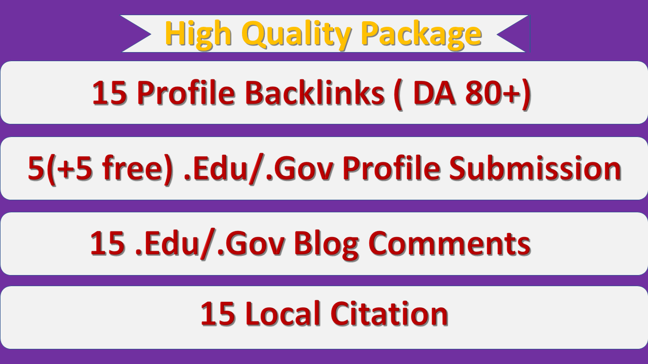 50 High Quality Manual Backlinks Package