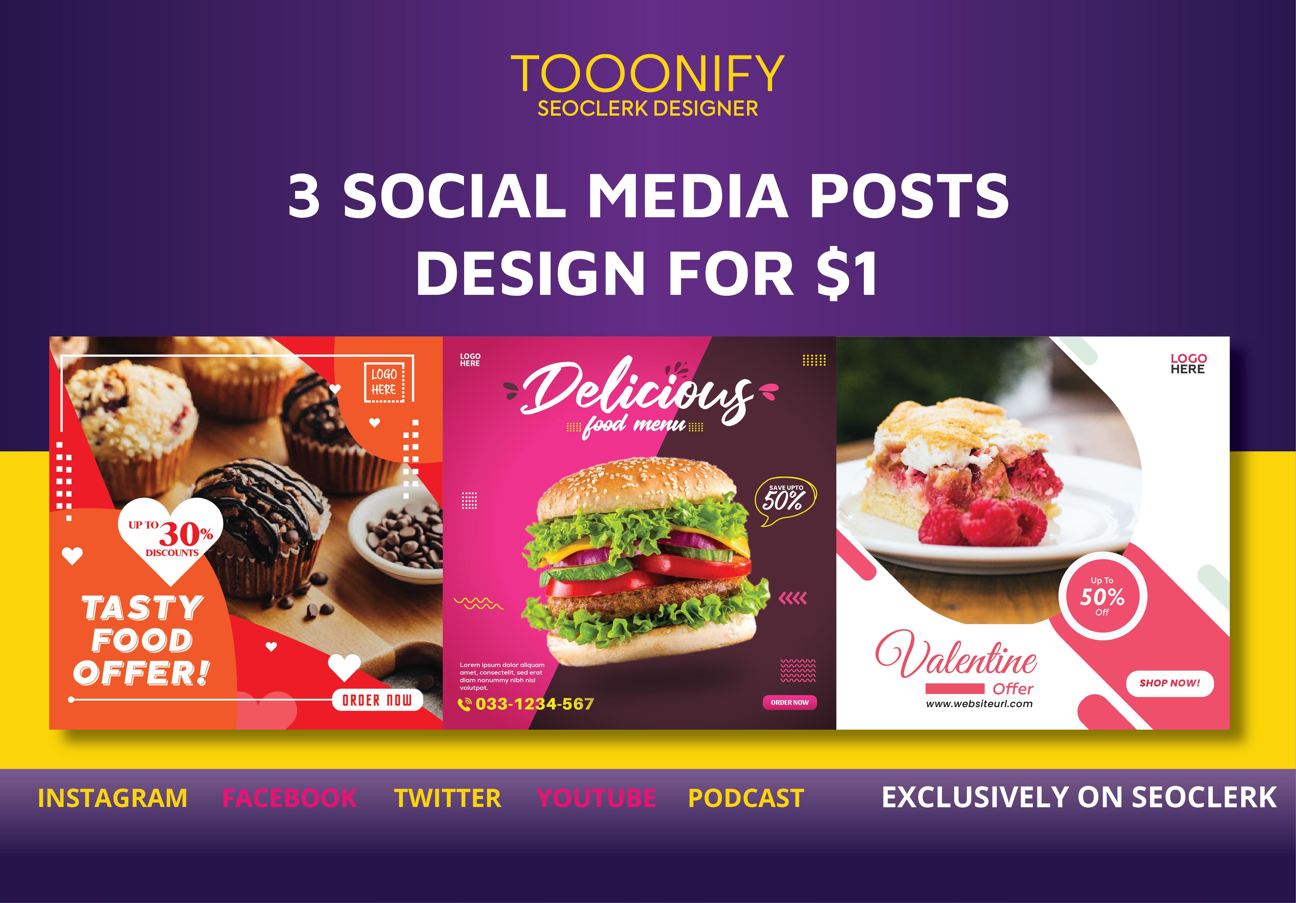 I will design 3 creative social media posts