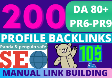 200 high authority profile backlinks manually create with high DA/PA at the best price