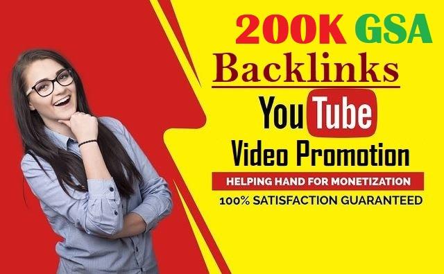 High Quality Verified 200,000 GSA SEO YOUTUBE Backlinks