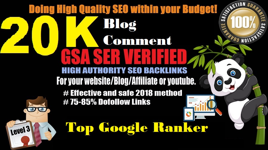 High Quality Verified 20,000 GSA SEO Blog Comment for your site