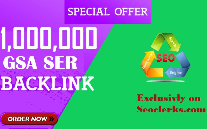 1 Million/1,000,000 Verified GSA SEO Backlinks for website and wiki ranking
