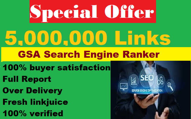 I will Build 5 Million Verified GSA SEO Backlinks for Website ranking