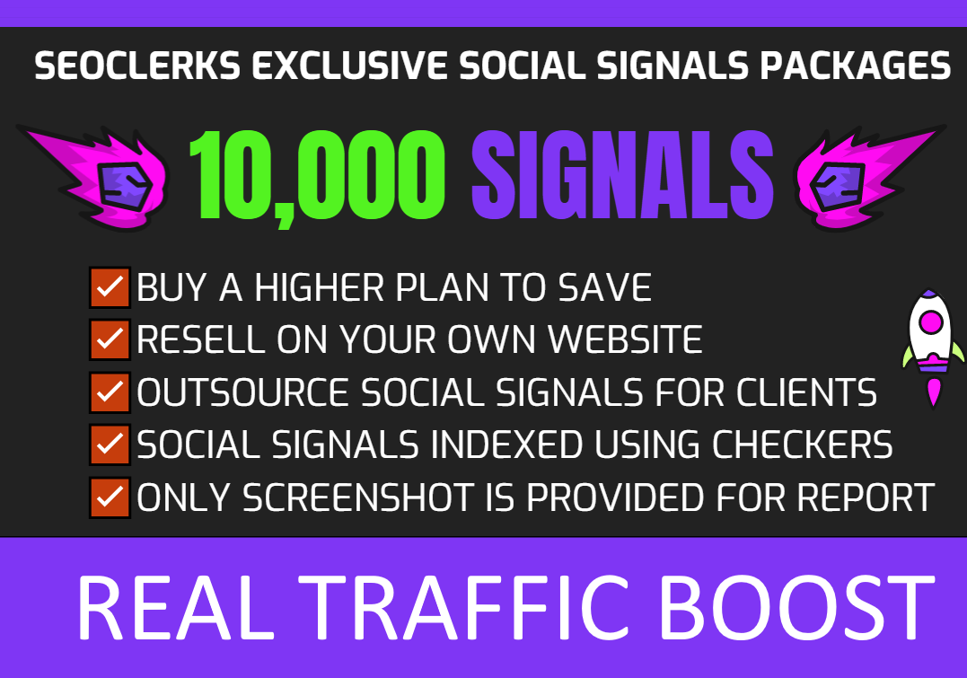 10,000 Social Signals for SEO,  Traffic Boost & Ranking - Real High Authority Pages FOR BIG BOOST