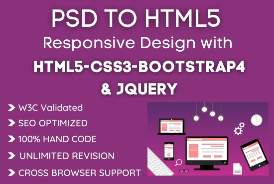 I will convert any PSD Sketch XD Figma PDF to Responsive HTML design with Bootstrap4