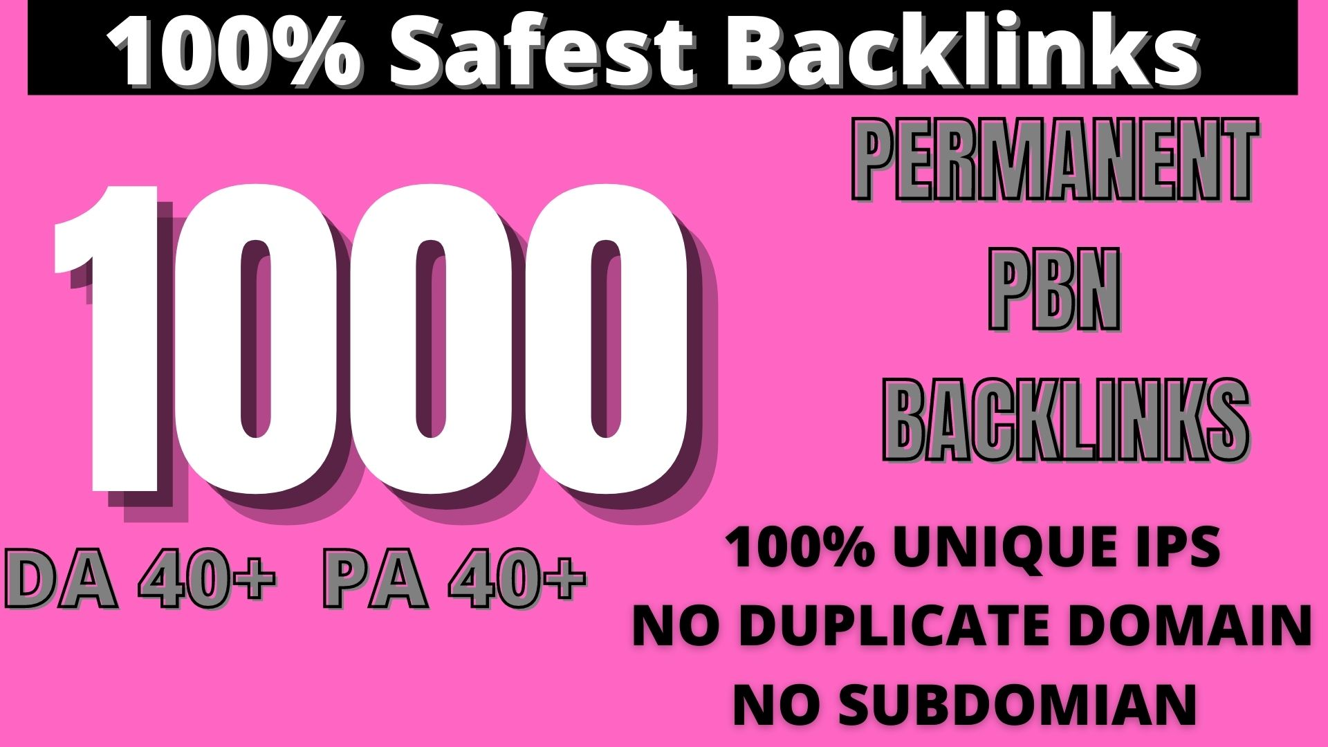 Create 1000 HOMEPAGE PBN Backlinks 1000 Dofollow & Permanent Links With High DA/PA/CF/TF web2.0