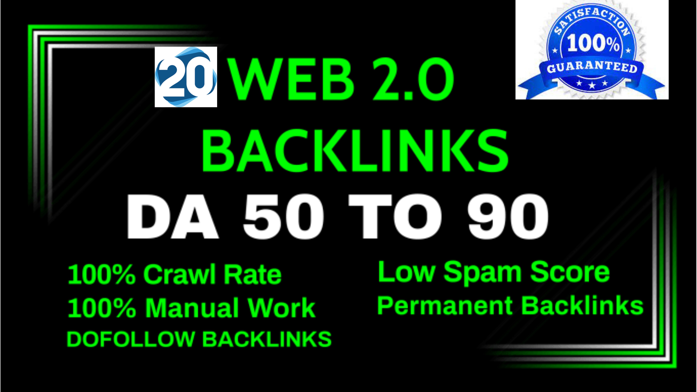 I will build 20 contextual web2.0 high-quality SEO do-follow manual backlinks