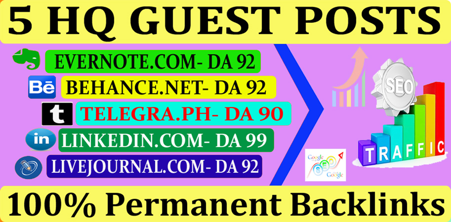 Write & publish 5 guest posts DA 90+ high quality sites with permanent links