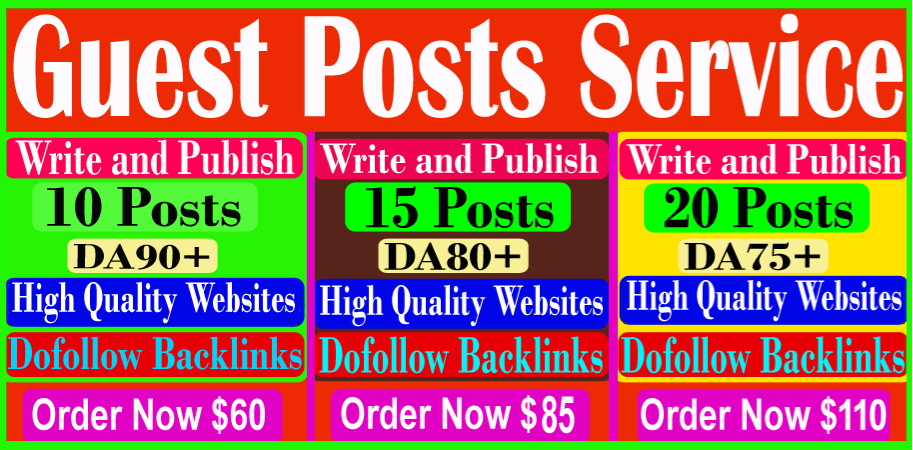 I will write and publish 10 guest posts on high quality DA90+ sites,  Permanent links