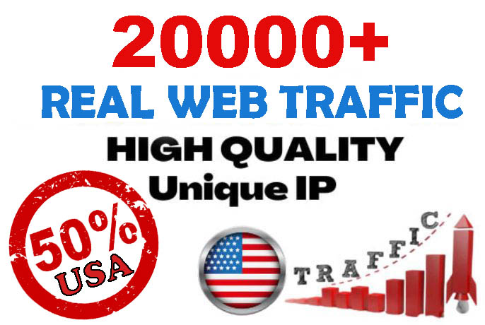 20000+ Unique Website Traffic 50 percent USA to your website