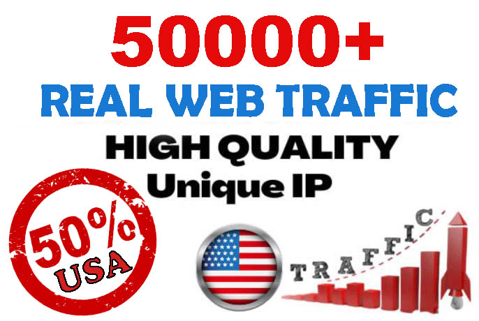 50000+ Unique Website Traffic 50 percent USA to your website