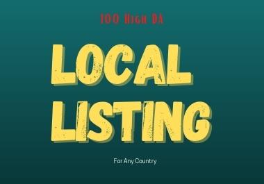 I will manually create 100 DA Local Listing