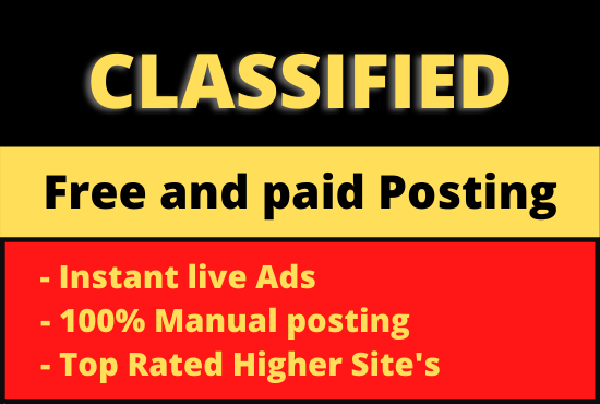 I will post your ads on top rank classified ad all posting sites