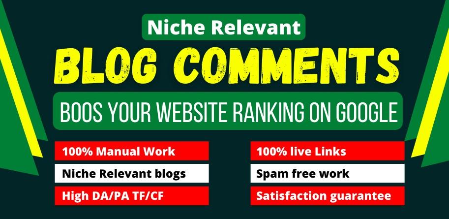 Build 100+ Niche Blog Comments SEO Backlinks On High DA Blog