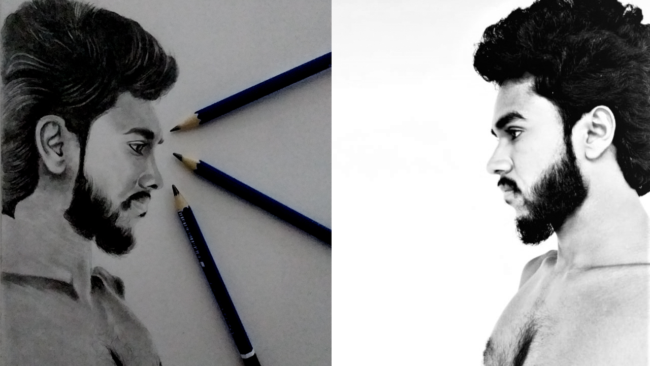 Draw realistic pencil portrait sketch drawing with video