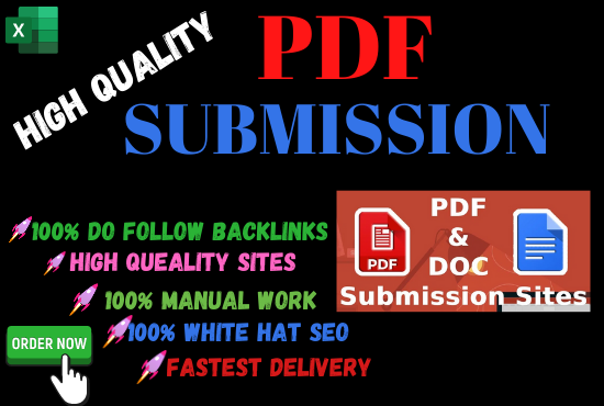 Manual 20 pdf submission High Authority low spam score permanent backlinks quality link building