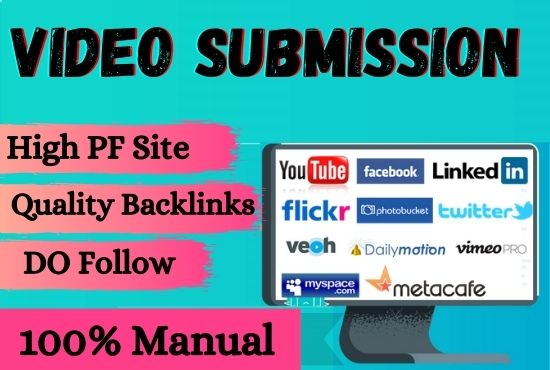 I will manually submit 60 video sharing submission