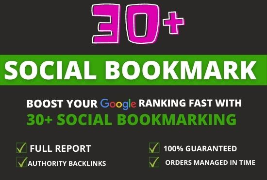 30+ social bookmarking Submission on high PR backlinks.
