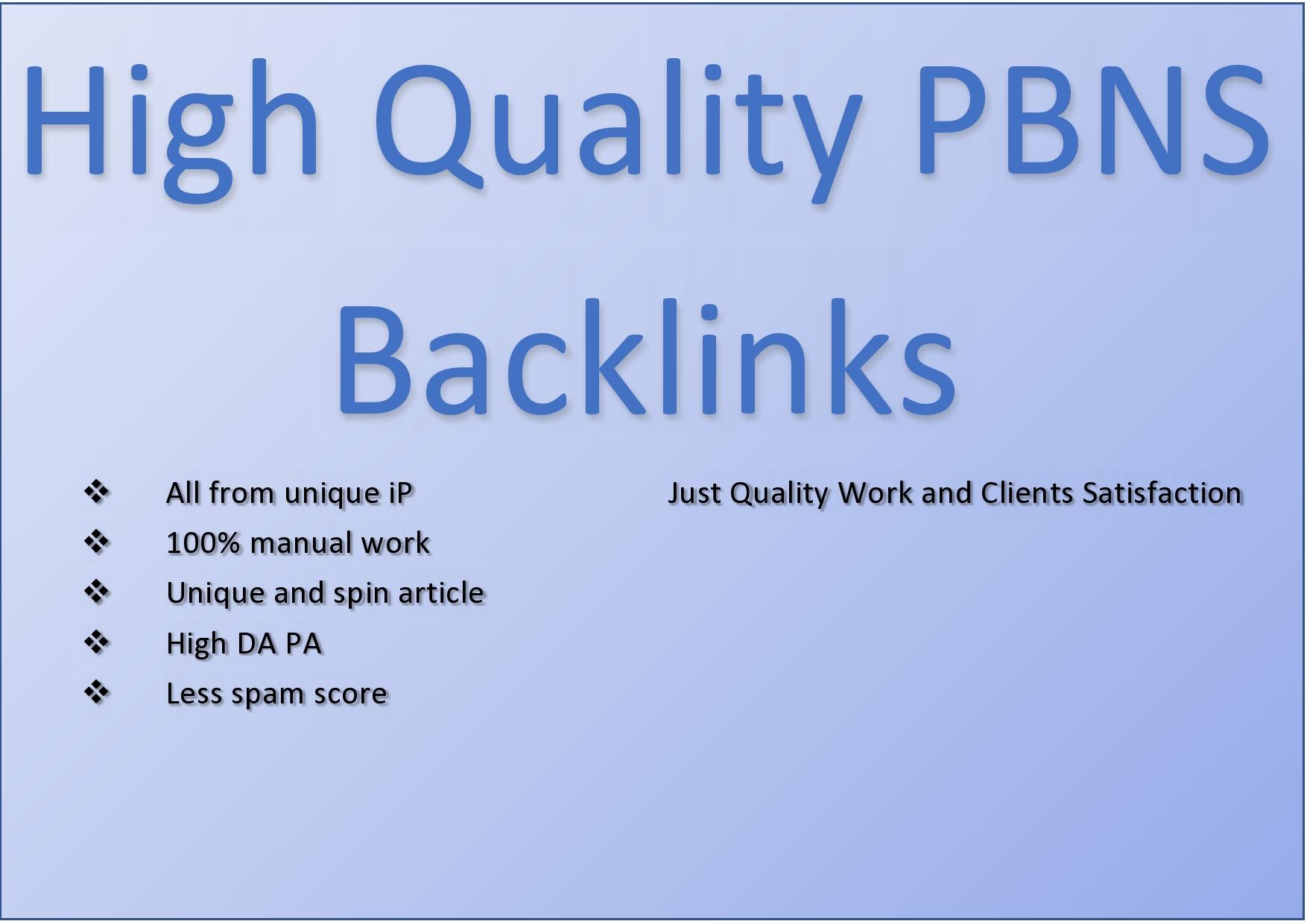 I will Create High DA PBNs Backlinks