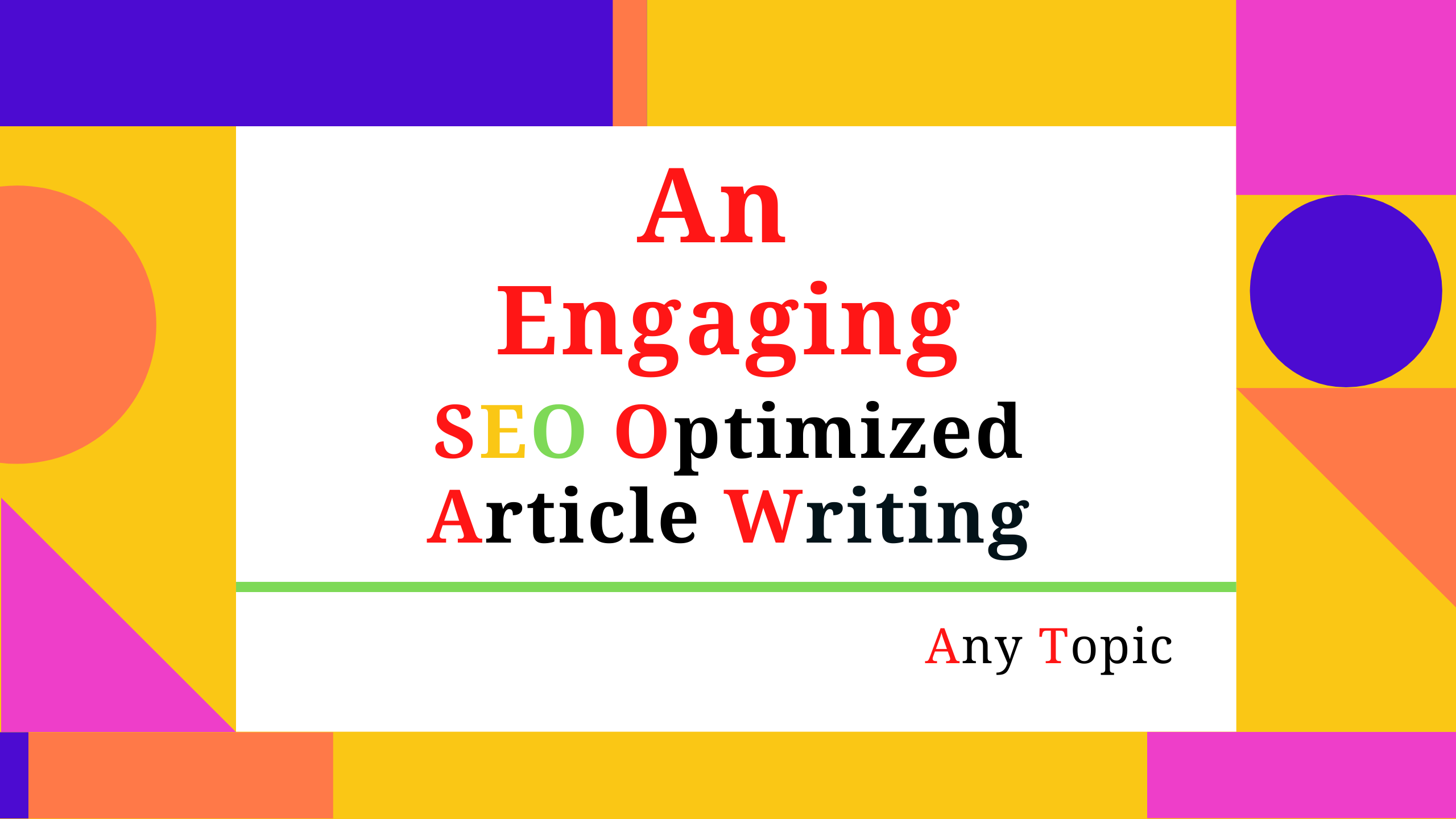 Write an engaging and unique SEO article on any topic