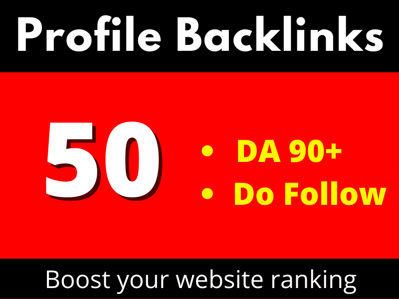 I will Create 50 Dofollow Profile Backlinks Or Social Profiles Create
