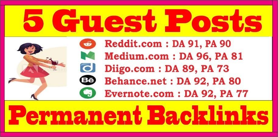 Write & Publish 5 Guest Blog Posts DA89+ Websites Permanent SEO Backlinks