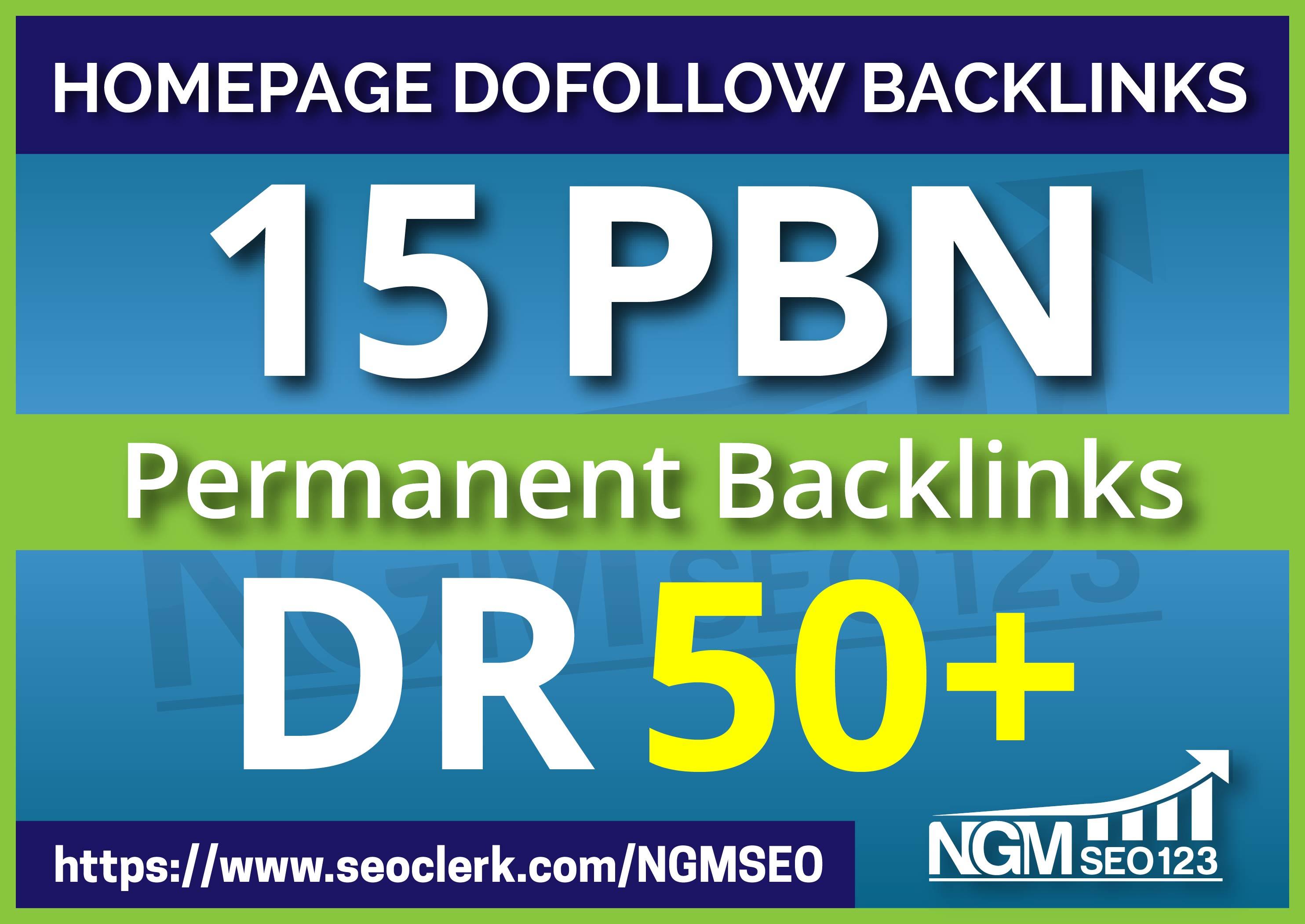 Creat High 15 PBN DR 50+ Perment Homepage Backlinks