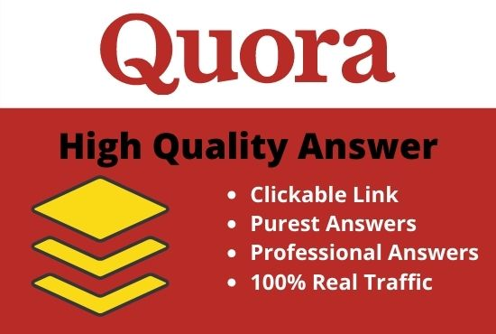 12 Quora answers with High quality Backlinks will be done