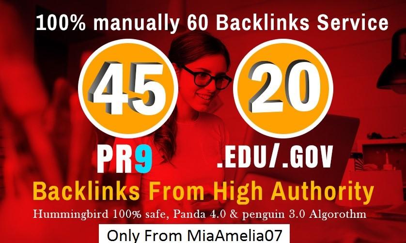 I will do manually created 65 Backlinks 45 PR9 Backlinks with 20 Edu-Gov Links