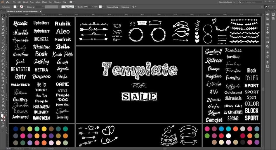 Print On Demand TEMPLATE in illustrator with over 131 free commercial use Fonts