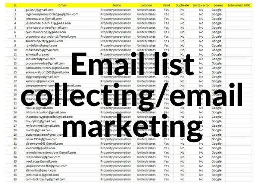 I will provide 5000+ niche targeted bulk email list for email marketing