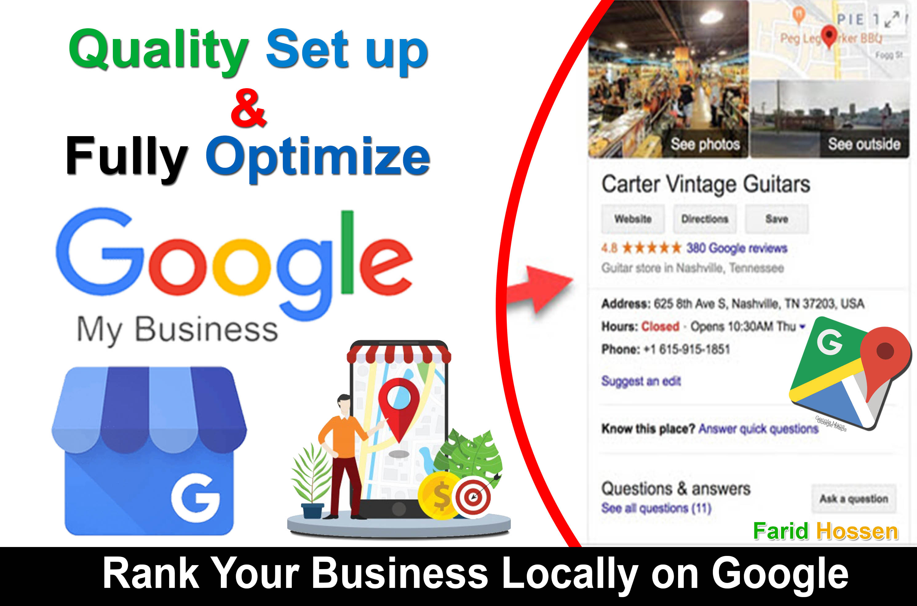 Create Google My Business Optimize,  Manage and Improve Local Listings Rank