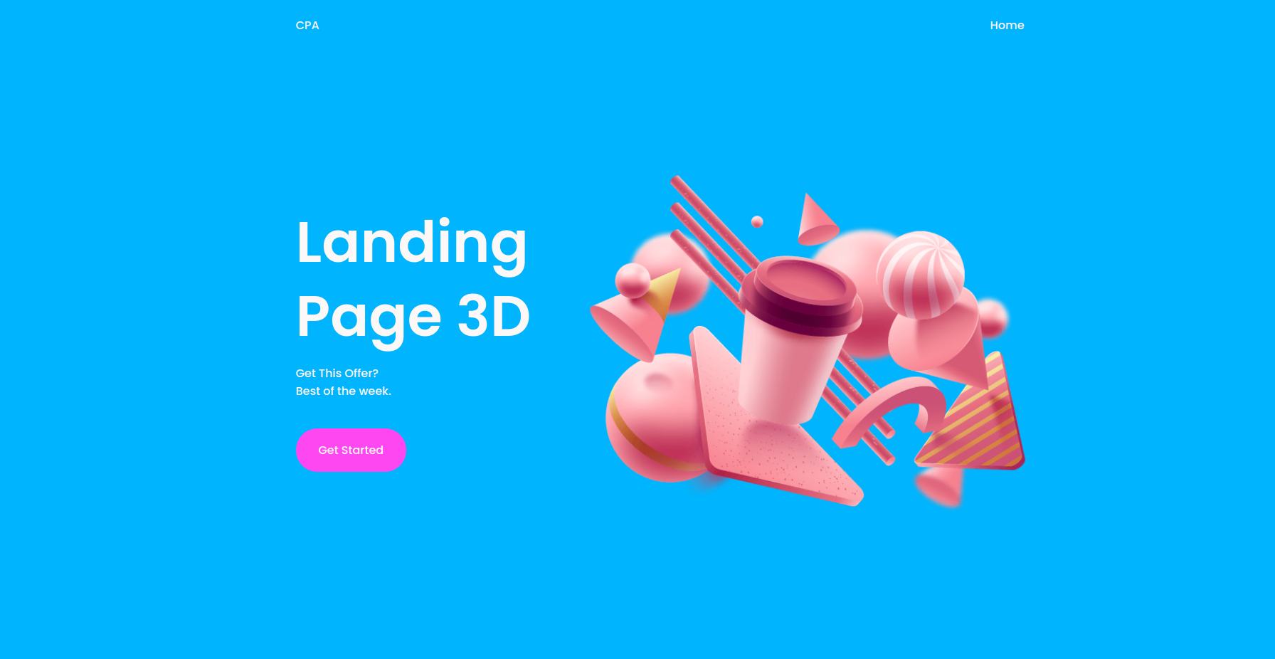 Responsive Landing Page For CPA Offers 3D. HTML5-CSS3-JavaScript