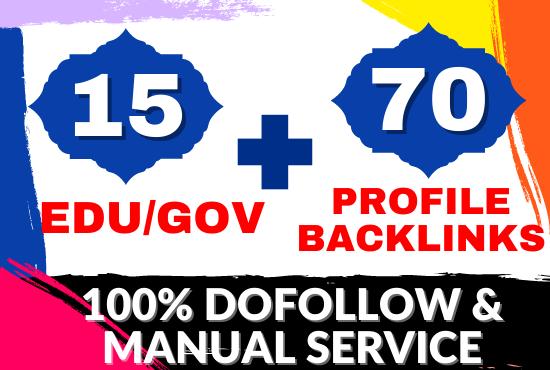 High Quality 70 Pr9 + 15 Edu/Gov Dofollow SEO Profile Backlinks Affordable Price