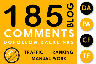 Create 185 High Quality Manual Blog Comments Backlinks