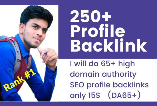 I will do 250+ high domain authority SEO profile backlinks