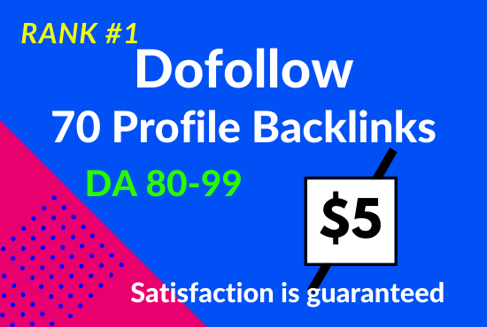 I will do 70 high DA 80+ profile backlinks manually for SEO ranking