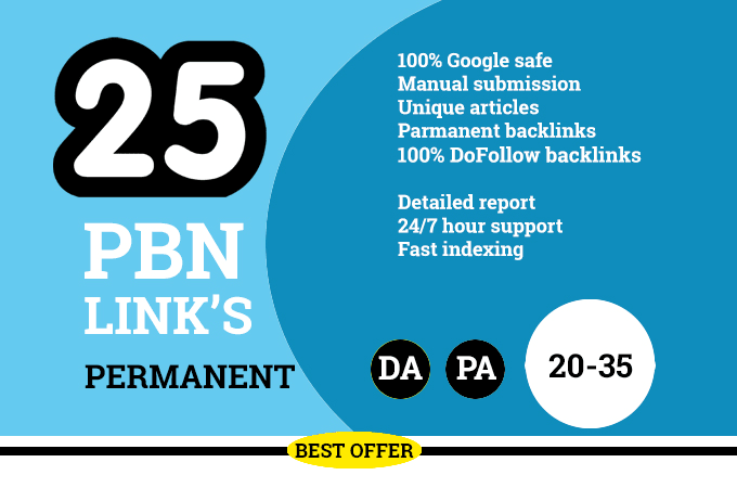 Manually Build 25 HomePage & Dofollow Permanent PBNs backlinks