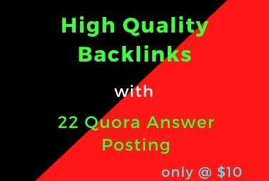 I Will Generate High Quality Backlinks & Targeted Traffic with 10 Quora Answers