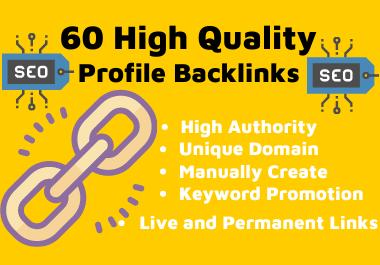 60 High Quality SEO Profile Backlinks Manually Create