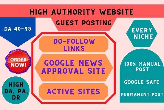 Publish High DA SEO firendly Guest Post with dofollow backlinks