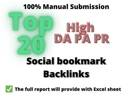 I will create top 20 social bookmark backlinks manually