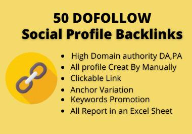 High Quality 50 Dofollow Social Profile Backlinks build 2021