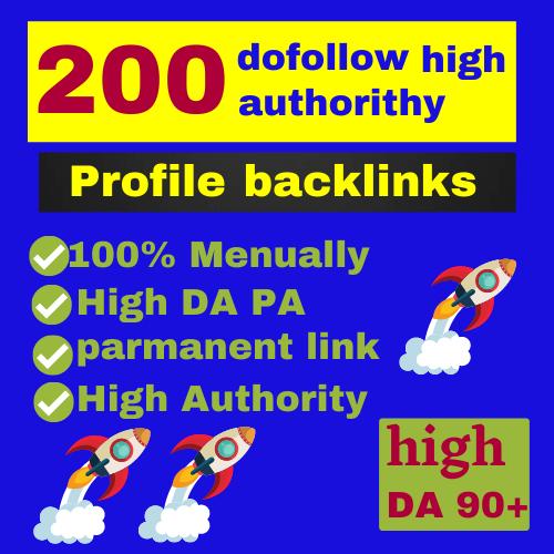 Build 200 high authority dofollow profile backlinks DA 90+