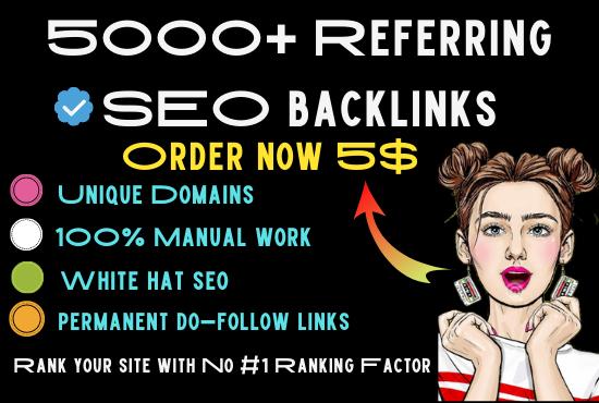 I will build referring domain backlinks 5K high quality SEO backliniks