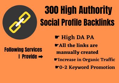 Create 300 High Authority Social Profile Backlinks