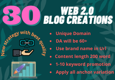 30 High Quality Web 2.0 Backlinks with Unique Domain