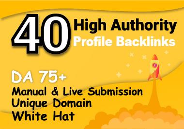 I will create 40 HQ DA 75+ SEO PROFILE BACKLINKS