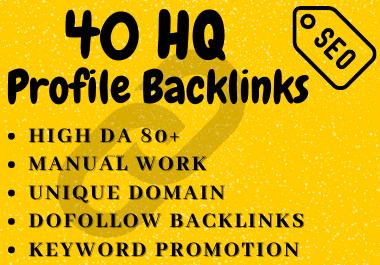 40 High DA 80+ SEO Profile Backlinks