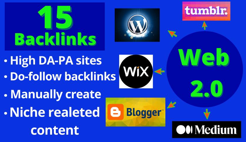 15 HQ Web 2.0 Backlinks From High DA 80+ Websites